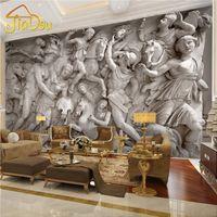 الجملة- مخصص 3d صور خلفيات الأوروبي الرجعية التماثيل الرومانية الفن جدارية مطعم غرفة المعيشة أريكة الخلفيات ورق الحائط جدارية 3d