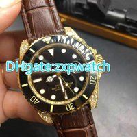 Diamonds gold case luxury automatic stainless steel watch bl...
