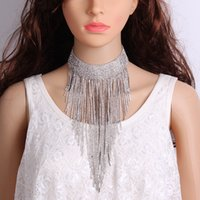 Deep V Dress Shining Necklace Lots Crystal Tassels Party Jew...