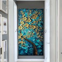 황금 꽃과 나무 높은 품질의 손으로 그린 현대 벽 장식 캔버스에 추상 미술 유화 멀티 크기 / 프레임 옵션 조지