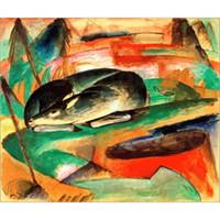 Dekorative moderne Gemälde Franz Marc Schlafendes Reh Kunst für Wanddekor handgemaltes Öl auf Leinwand