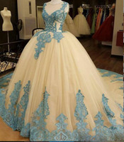 Ivory Ball Gown Prom Dresses With Blue Lace Appliques Sheer ...