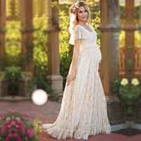 Sukienka macierzyńska dla fotografii ciążowa fotografia rekwizyty krótki rękaw Seksowne koronki Suknie w ciąży 2017 Kobiety Elegancka Długa Dress Plus Size S-4XL