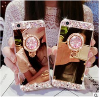 Luxo Bling Diamond Crystal Case TPU com suporte Suporte Kickstand Rost Mirror Capa para iPhone 12 Mini 11 Pro X XS Max XR 8 7 6 PLUS DHL