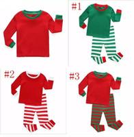 가을 겨울 유아 어린이 긴 소매 빨간색 세트 아기 소년 소녀 스트라이프 의상 크리스마스 파자마 잠옷 세트
