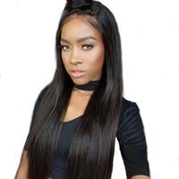 Pelucas llenas del cabello humano del frente del cordón sedoso del extremo Pelucas brasileñas del pelo de la Virgen del 100% Pelucas llenas del cabello humano del cordón del desplume para la mujer negra