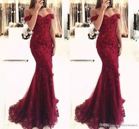 Elegant Burgundy Off the Shoulder Beaded Lace Mermaid Prom D...