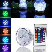Edison2011 10 LED multicolore 20 24 Key Submersible à distance Lumière étanche Tea Étanche Floralytes Vase Base Lampe Lumière Lumière Blub Blub Sans navire