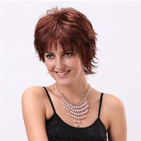 Short Bob Curly Synthetic Hair Wigs Side Bang Mix Brown Wig ...