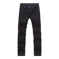 Hombres Biker Jeans Destruido Denim Slim Fit Washed Denim Skinny Pants Joggers Skinny Men Ripped Pantalones