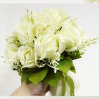 New High Quality Ivory Rose Bridal Bouquet 18 Flowers Bridal...