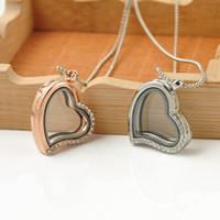 Lovely Jewelry Living Memory Medaglione galleggiante Love Heart Round Collana pendente di fascino Collana di vetro Framese Donna regalo