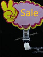 Großhandel 100 stücke acryl pop clip display preisschild Zeichen Papier Halter Swivel Doppel Förderung Clips etikettenhalter snap kostenloser versand
