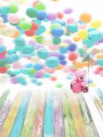 Красочные воздушные шары фоны для фотографии розовый игрушка медведь цифровой живописи цветной деревянный пол детские дети дети День Рождения фон