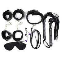 BDSM Bondage Set Gioco per adulti 7in1 con benda a colletto Bocca Gag Manette polsini polso Polsini Frusta posizionamento erotico Set di bende J-19