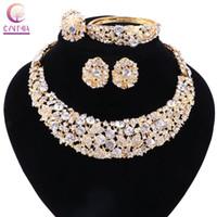 Женщины Gold Plated Boho Crystal Ювелирные Наборы с серьгами Прямое продажное Заявление Ожерелье для вечеринки Свадьба Ожерелье 2017