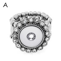 Whloesale 조정 가능한 반지 맞는 12mm 스냅 버튼 여성 패션 보석 크리스탈 꽃 방향 반지