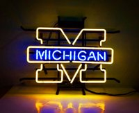 17 * 14 pollici New Tat pneumatico Neon Beer Sign Bar Sign Vetro reale luce al neon Beer Sign ME 475 ncaa michigan 16x14 001