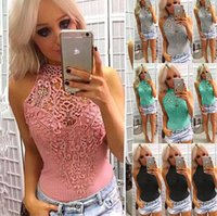 Ladies Sleeveless Lace Embroidered Crochet Sexy Halter Bodys...