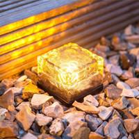 LED tijolo Lâmpada de gelo solares terra cubo de luz em forma solar jardim azul branco lâmpada gramado undergroud multi cores wireless
