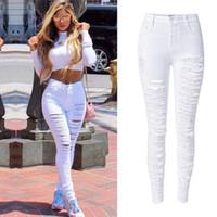 Großhandel- plus Größe 44 Sexy Damen Hohe Taille Skinny Ripping Slim Fit Cut Loch Denim Jeans Weiß / Schwarz Stretchy Denim Bleistift Hosen Jeans