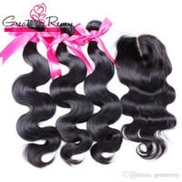 Greatramy Medio Parte Top Chiusura in pizzo 4x4 con i capelli Bundles Brasiliano Malesian Malesian Vergine Peruviano HairExtensions Colore naturale Body Wave