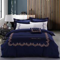Blu elegante letto di Set Confortevole 100% dei casi del tessuto di cotone Duvet federe base piana 4 dello strato Bedding Supplies piece Free shipping