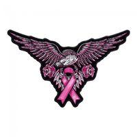 Rosa Adler-Brustkrebs-Band-Flecken, Bewusstsein stickten Eisen an oder nähen auf Flecken 5,25 * 3,25 Zoll freies Verschiffen