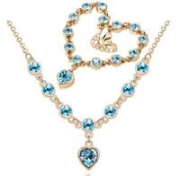 18 Karat Gold Silber Überzogene Österreichische Kristallherz Charme Halskette Armband Schmuck Set Für Frauen Hochzeit Schmuck Sets für Säuglinge