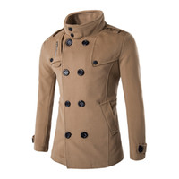 Commercio all'ingrosso- Nuovo inverno 2016 cappotto di lana Slim Fit Giacche Moda Capispalla Uomo caldo Giacca casual Cappotto Cappotto Plus Size M-XXL