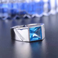 100% natural blue topaz man ring classic silver gemstone rin...