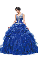 2018 Quinceanera Dresses Royal Blue Ball Gown Organza Ruffle...