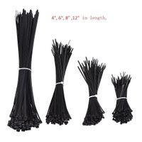 1000PCS Black Nylon Självlåsande Heavy Duty Standard Cable Wrap Zip Slips Band Trådkabel Tie Kit Fäst band för hem och industri