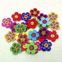 Botones de madera 20mm flor encantadora 2 agujeros para caja de regalo hecha a mano Scrapbook Craft Party Decoration DIY favor Accesorios de costura