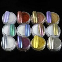 12pcs / set Shinning Ayna Etkisi Tırnak Glitter + Fırça Manikür Sihirli Krom Pigment Nail Art Dekorasyon Glitters