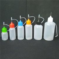 Aguja de plástico E Botella de líquido 5ml 10ml 15ml 20ml 30ml 50 ml de vapor de vapor de PE Botellas de aceite con tapa de pin-agujero coloridas.