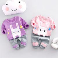 2pcs bambin bébé garçons filles lapin t-shirt + pantalons longs vêtements tenues ensemble