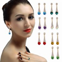 Déclaration de mode en alliage plaqué or déclaration Autriche Blue Crystal Long boucles d'oreilles Strass Water Drop Elegant Earring Jewelry