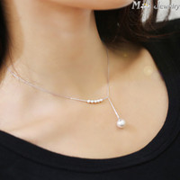 925 Sterling Silver Necklaces Simulated- pearl Pendants&Neckl...