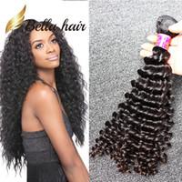 BellaHair®8~34ブラジルの髪束の未処理の自然な色の深い波の波状の人的な髪の延ばす1pc /ロット8a品質よこ糸