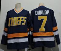 # 7 Reggie Dunlop Maillot des chefs Charlestown Brother Slap Shot 16 JACK HANSON 17 STEVE HANSON 18 JEFF HANSON Maillots de hockey sur film Bleu Blanc