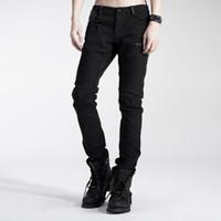 Al por mayor-Punk Rave Casual para hombre Pantalones de moda gótica Negro guapo Streampunk motocicleta K154