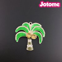 Broche De Pin Palmeira De Coco Verde, Esmalte Pingente De Palmeira Rhinestone - Colares Chunky - 42mm x 45mm