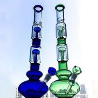 Blau, Grün, gerades Rohr Glaspfeife Doppel 4 Arm Bäume Perc Öl Dab Rigs 18mm Joint Wasserrohre mit diffusem Downstem GB1218