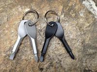 Çok fonksiyonlu Cep Aracı Anahtarlık Açık EDC Dişli Anahtarlıklar Ile Oluklu Phillips Kafa Mini Tornavida Seti Anahtar Yüzükler topcnmall # 023