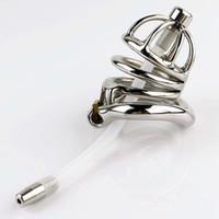 Ultimo design in acciaio inox piccolo dispositivo di castità maschile Gabbia per adulti Cockring con curva Cock Ring Catetere uretrale BDSM Giocattoli del sesso Cintura di castità