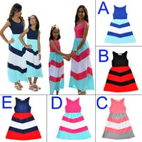 Mother Daughter Dress 2017 Summer Stripe Family Look Mommy A...