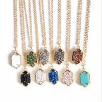 Hexagon druzy pedra pingentes colar banhado a ouro colar de jóias para mulheres moda jóias presente 10 cores