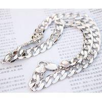 """Chaîne lourde 24K or blanc rempli de bijoux de lien gourmette collier 23,6 pouces 12mm (taille: 23,6 """", couleur: argent)"""