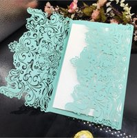 Mint Green Laser Cut Flower Wedding Invitations Card Persona...